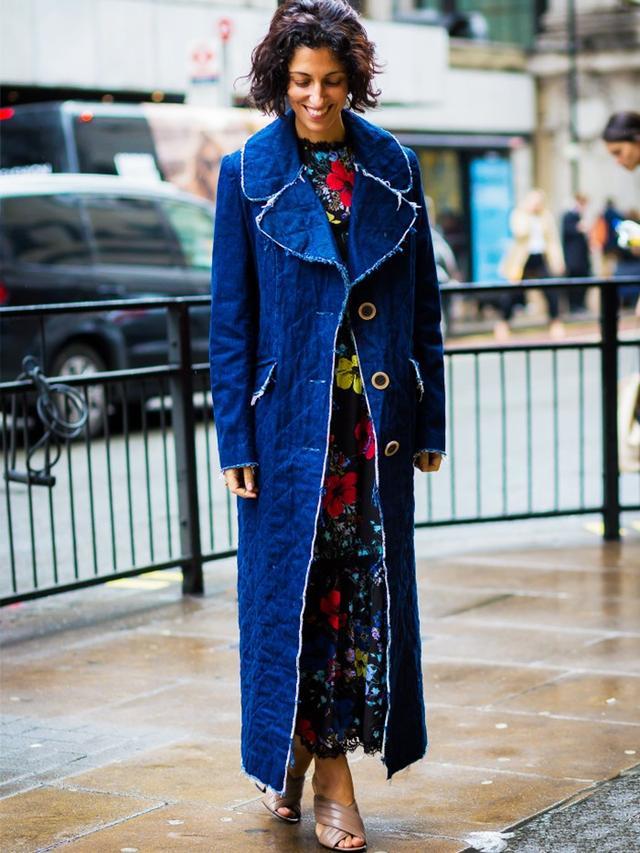 #1: Jean Coat + Floral Dress + Posh Sandals