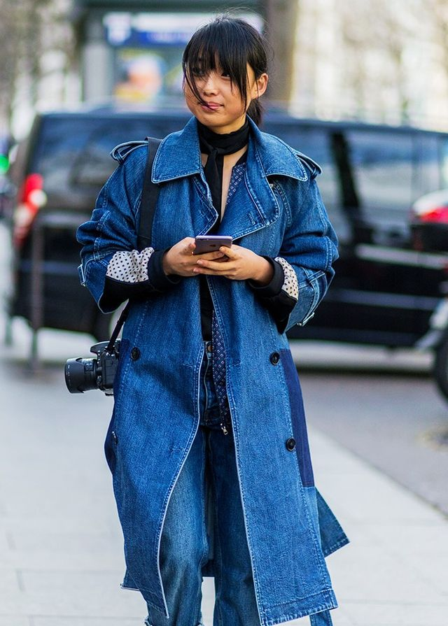 #5: Denim Trench + Matching Jeans + Pussy-Bow Blouse