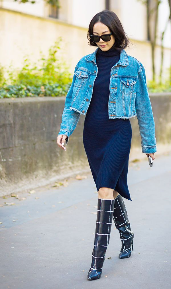 Denim Jacket + Sweater Dress + Statement Boots