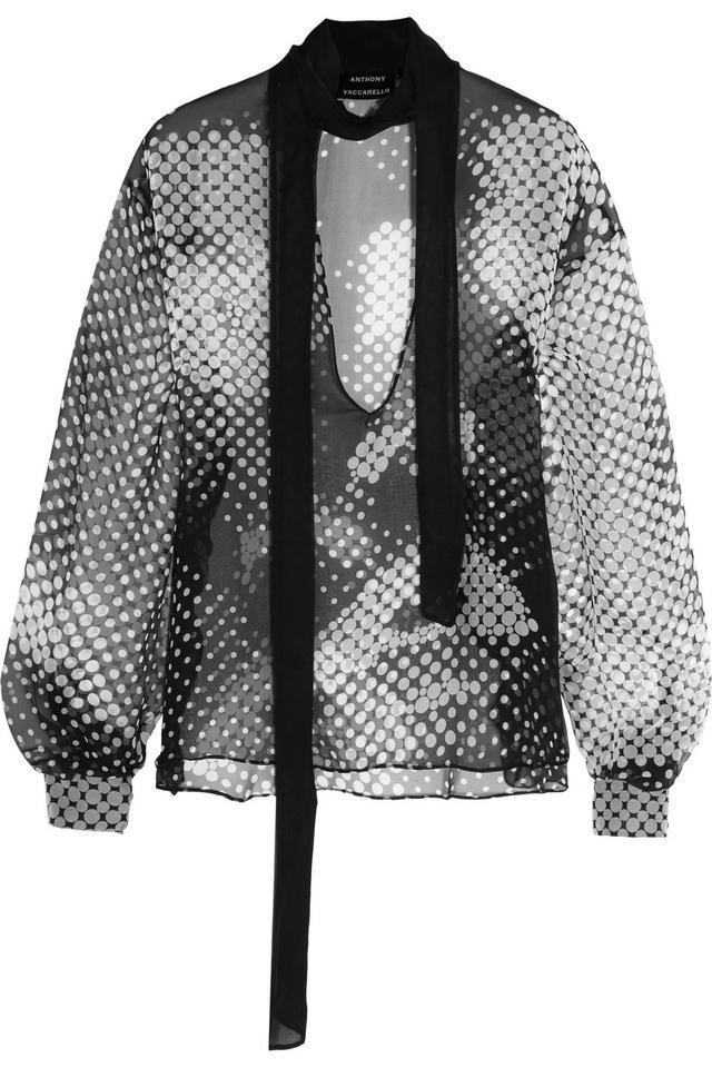 Anthony Vaccarello Printed Silk-Chiffon Blouse