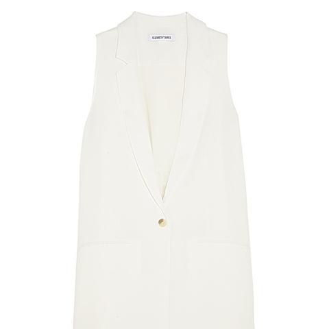Garnet Silk Chiffon-Paneled Crepe Vest