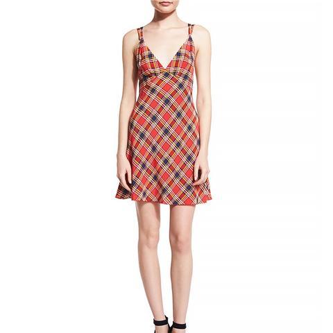 Sleeveless Plaid Silk Mini Dress