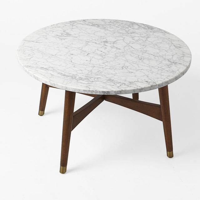 West Elm Reeve Mid-Century Coffee Table - Marble/Walnut