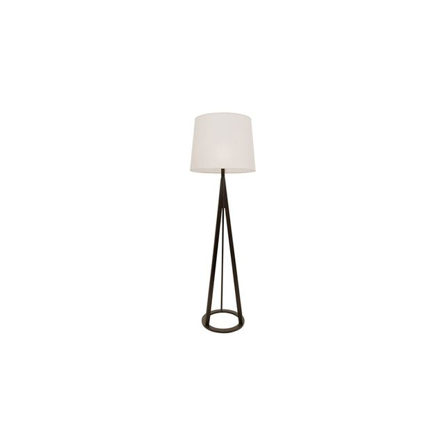 Freedom Mason Floor Lamp Espresso Base with Linen Colour Shade in Espresso