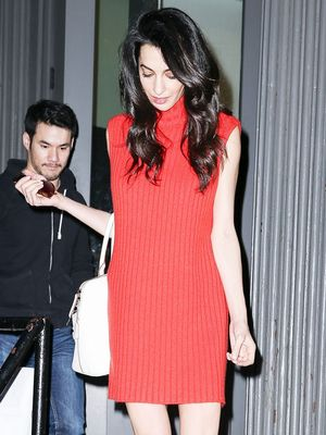Amal Clooney Channels Twiggy for a Night Out