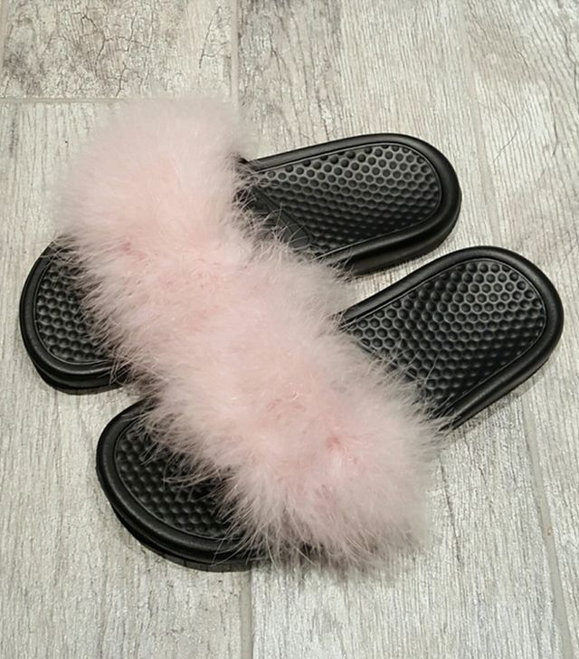 Living in Threads Authentic Nike Faux Fur Sandals
