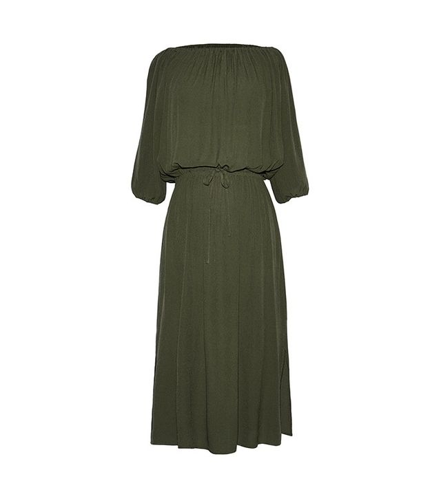 Who What Wear Woven Bardot Dress in Olive
