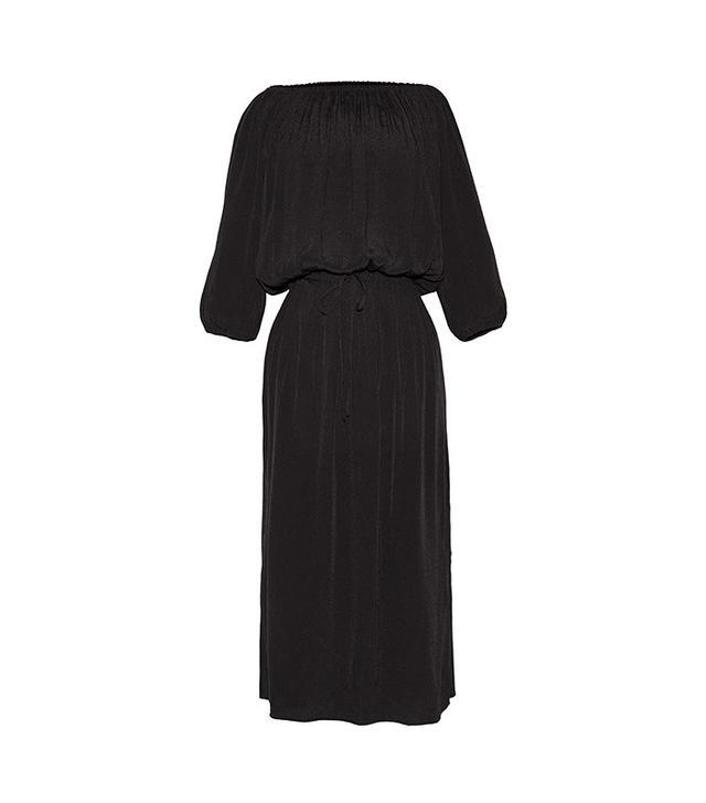 Who What Wear Woven Bardot Dress in Black