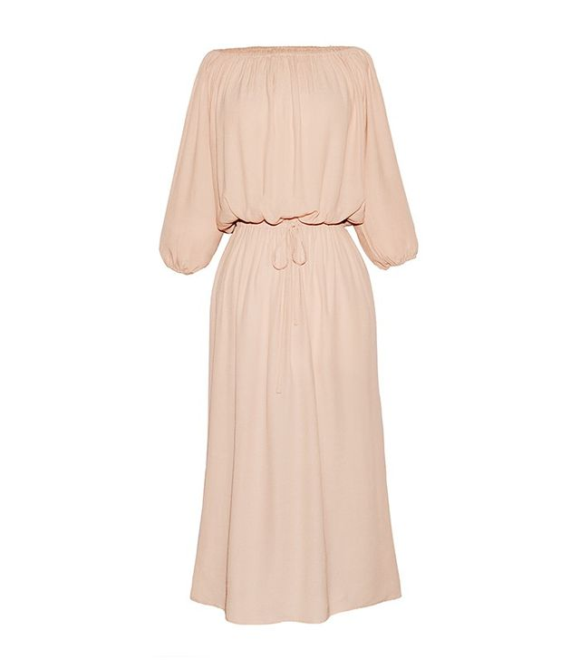 Who What Wear Woven Bardot Dress in Pink