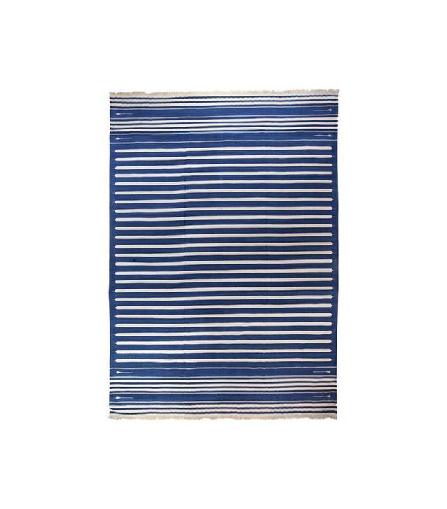 Ira & Sylvia Seret Blue & White Striped Dhurrie
