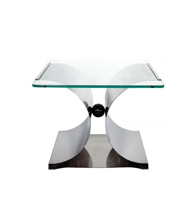 François Monnet 1970s X-Base Bent Stainless Steel Side Table
