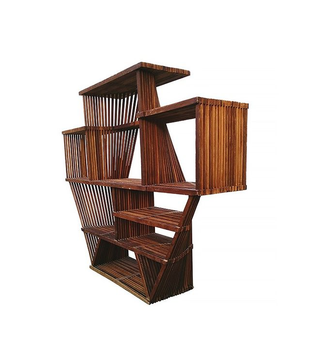 Vintage Industrial 1930s Tramp Art Graphic Wood Lath Sculpture Shelf Unit