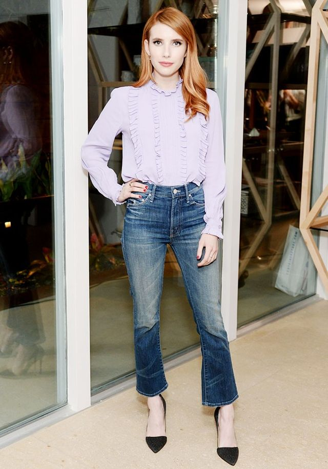 On Emma Roberts:ASOS Ruffle Detail Vintage Blouse With High Neck (£32); Mother Denim The Insider Crop Jeans (£146); Imagine Vince Camuto Ossie Studded Dorsay Heels (£113)...