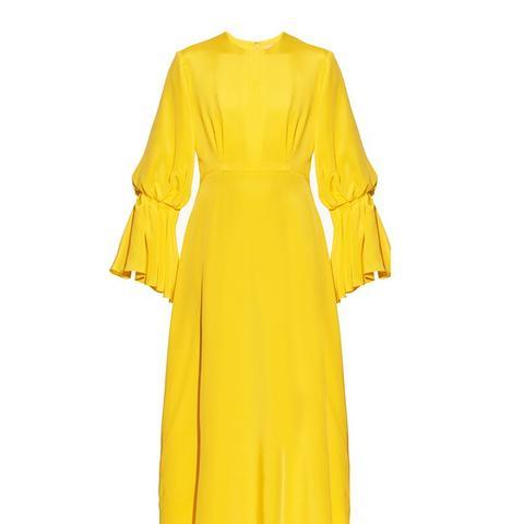 Ophelia Bell-Sleeved Silk Dress