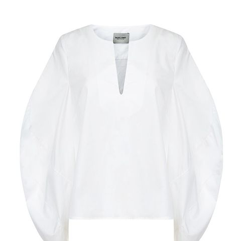 White Cotton Bell-Sleeve Tunic