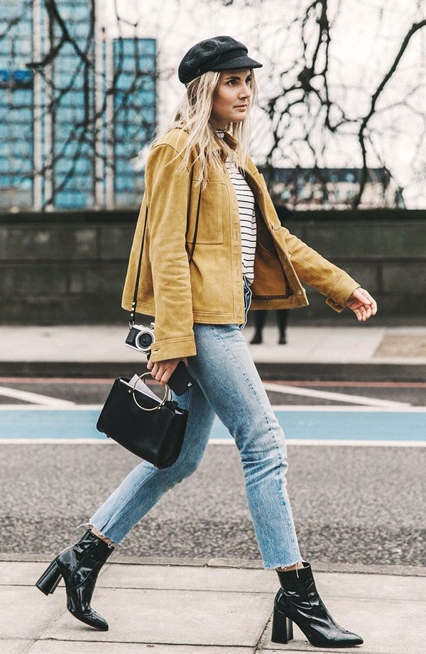 We're all about a suede moment for spring, especially when worn with It girl separates like a striped tee, raw-hem denim, and a metal-handle bag.