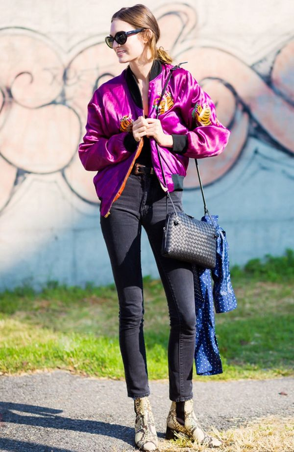 Get on the bomber jacket train like Laura Love and style yours with go-to skinny jeans and ankle boots.