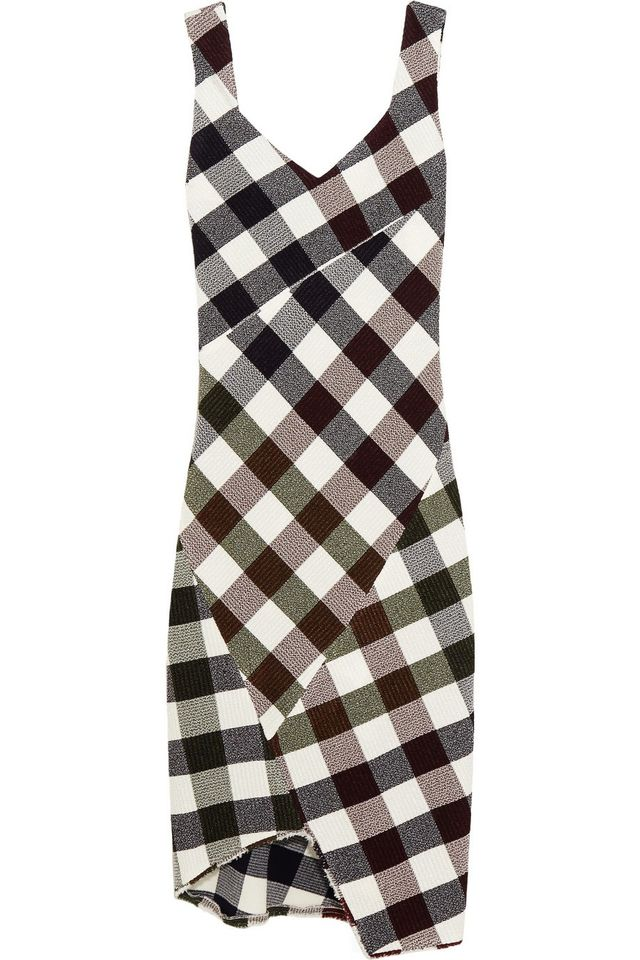 Victoria Beckham Gingham Stretch-Knit Dress
