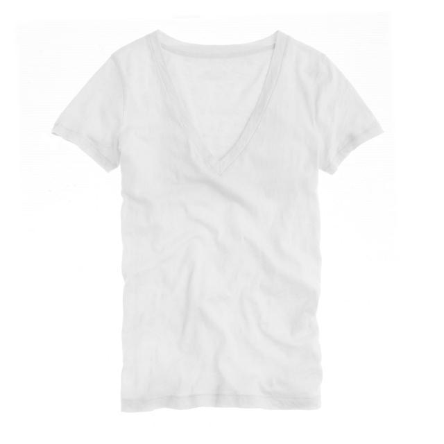 J.Crew Vintage Cotton V-Neck T-Shirt in White