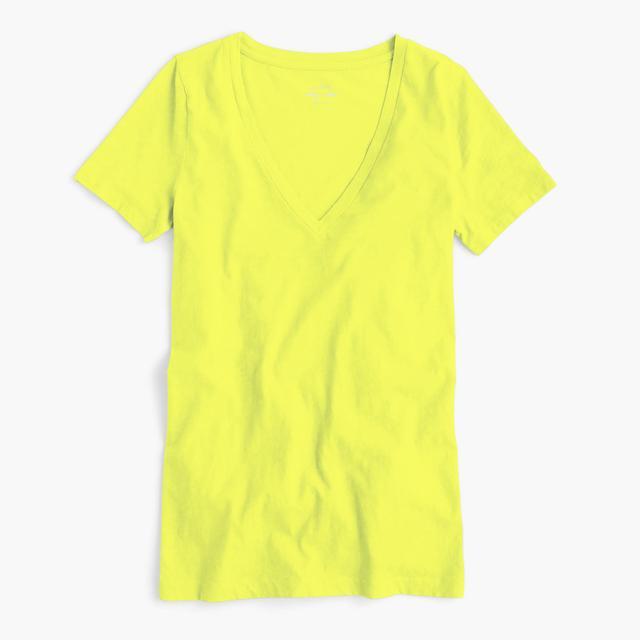 J.Crew Vintage Cotton V-Neck T-Shirt in Neon Citron