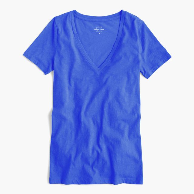 J.Crew Vintage Cotton V-Neck T-Shirt in Bright Grotto