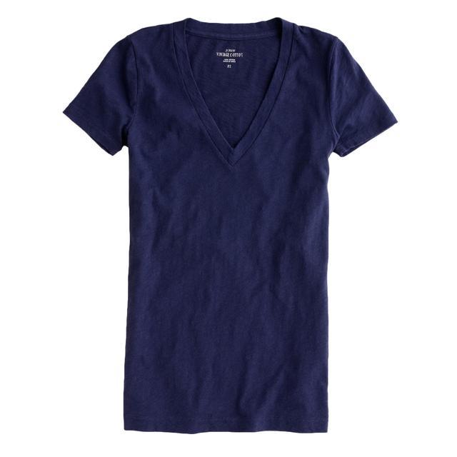J.Crew Vintage Cotton V-Neck T-Shirt in Navy