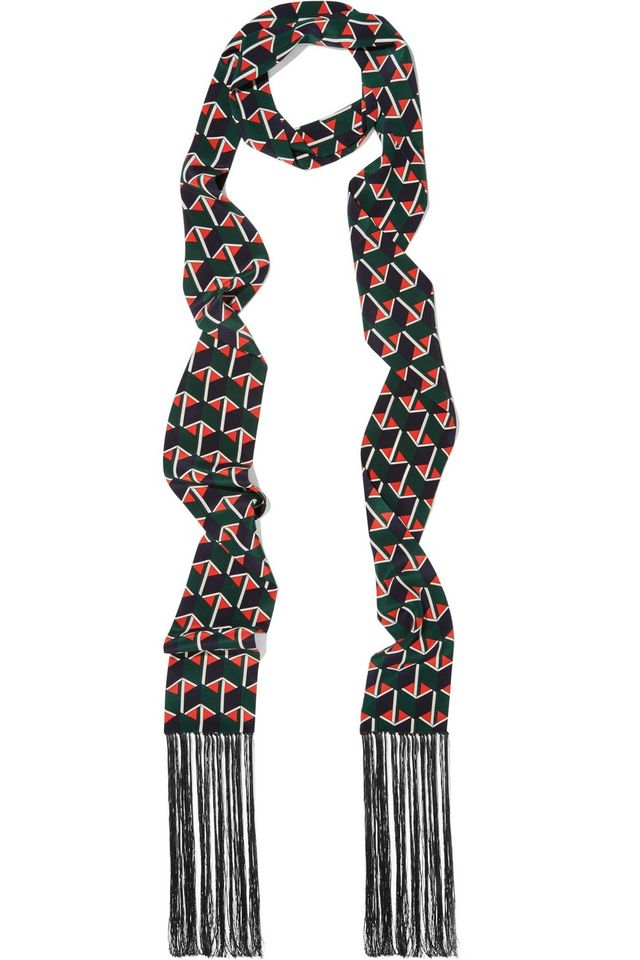 Gucci Fringed Printed Silk Scarf