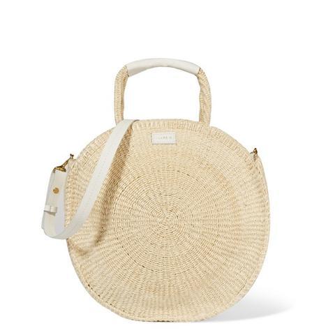 Alice Maison Leather-Trimmed Woven Sisal Shoulder Bag