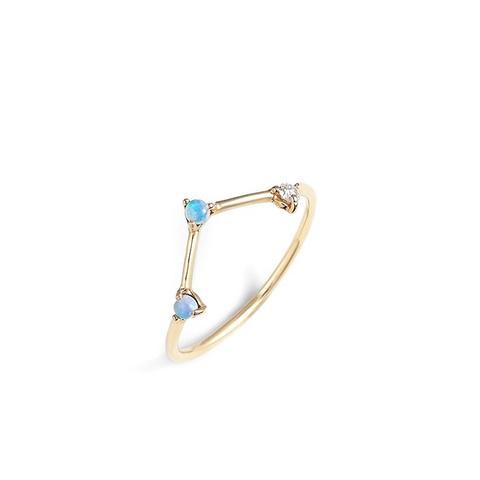 Three-Step Triangle Opal & Diamond Ring