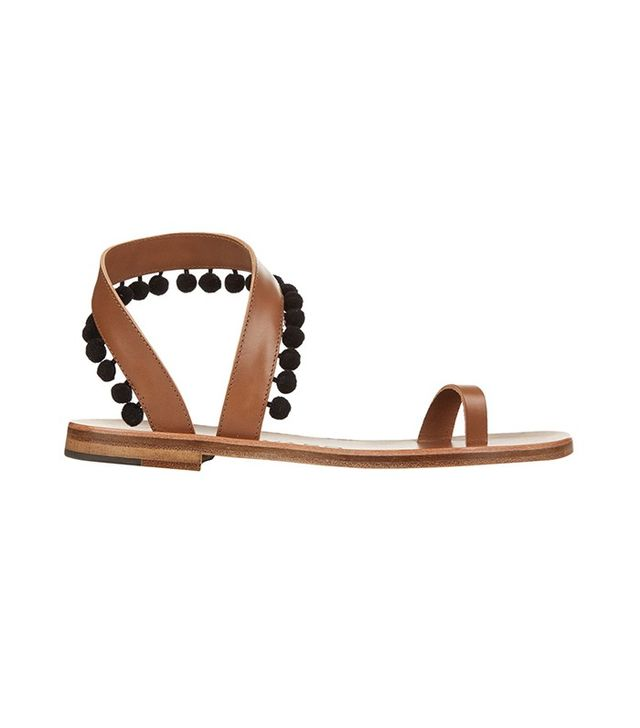 Álvaro Angela Pom Pom Embellished Leather Sandals