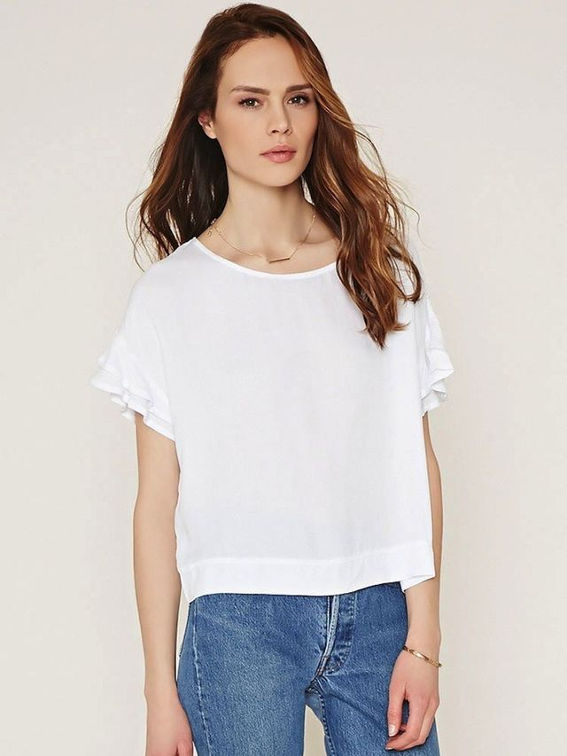 Forever 21 Contemporary Ruffled Sleeve Boxy Top