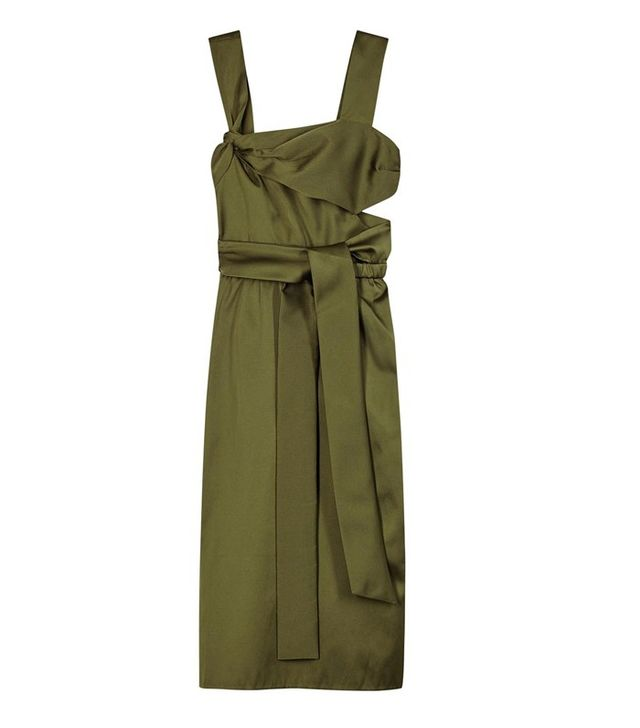 3.1 Phillip Lim Green Knotted Satin Dress