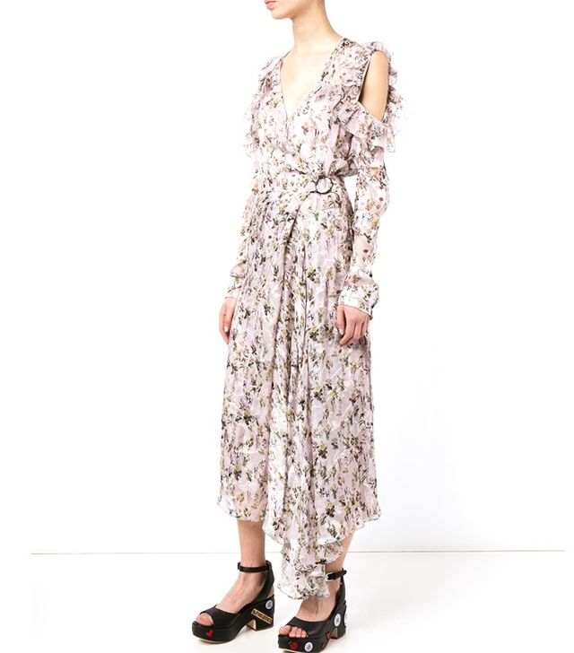 Preen by Thornton Bregazzi Alberta Floral Print Silk Wrap Dress