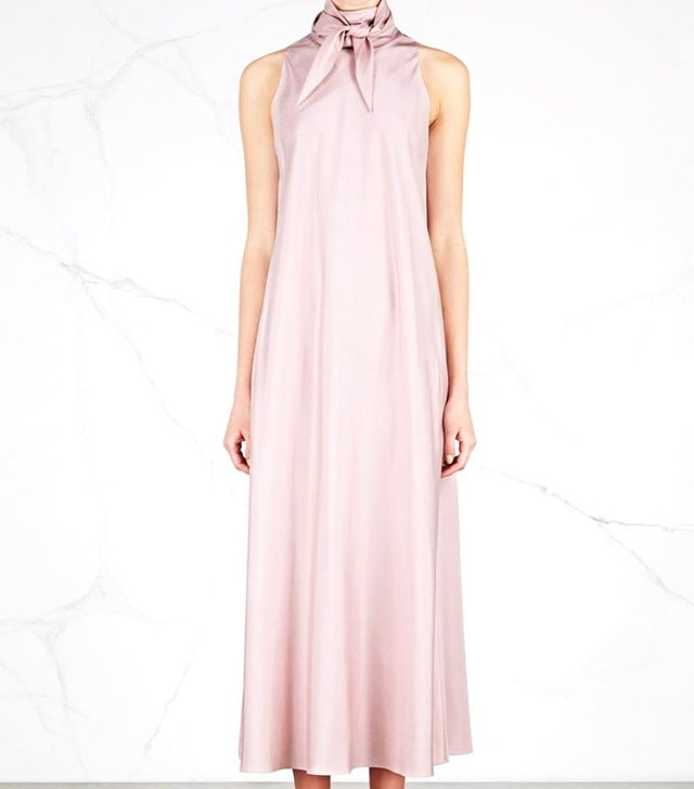 The Row Abiana Rose Neck-Tie Silk Poplin Dress