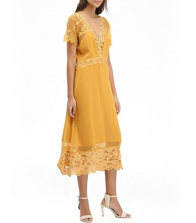 French Connection Siena Lace Midi Tea Dress
