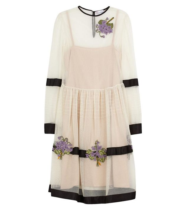Red Valentino Ivory Floral-Embroidered Tulle Dress