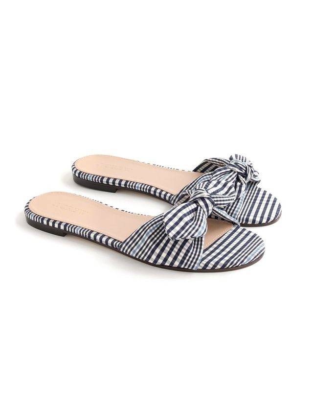 J.Crew Gingham Knotted Fabric Slides