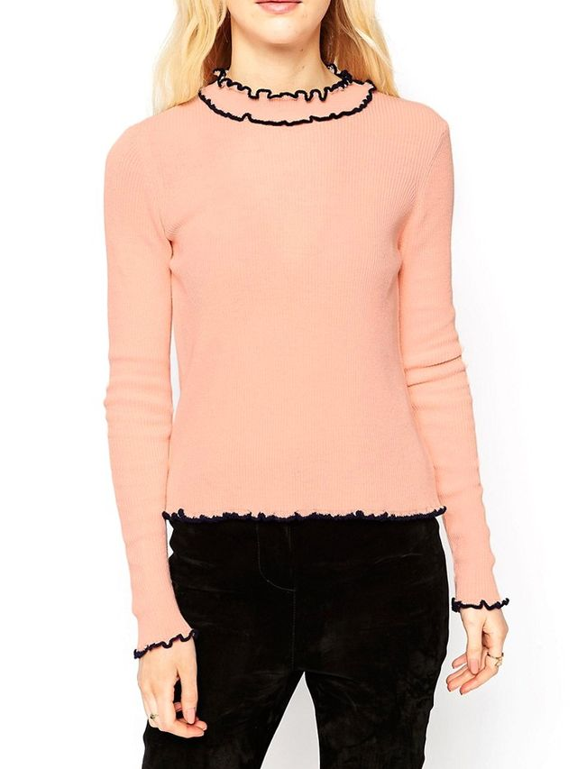 ASOS Sweater in Rib With Ruffle Neck With Tipping