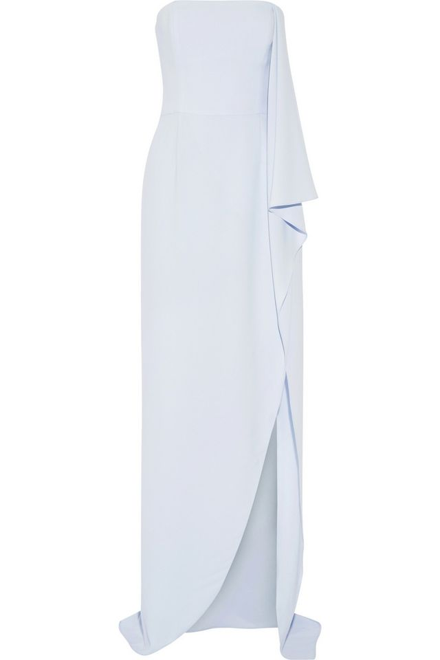 Halston Heritage Strapless Asymmetric Crepe Gown