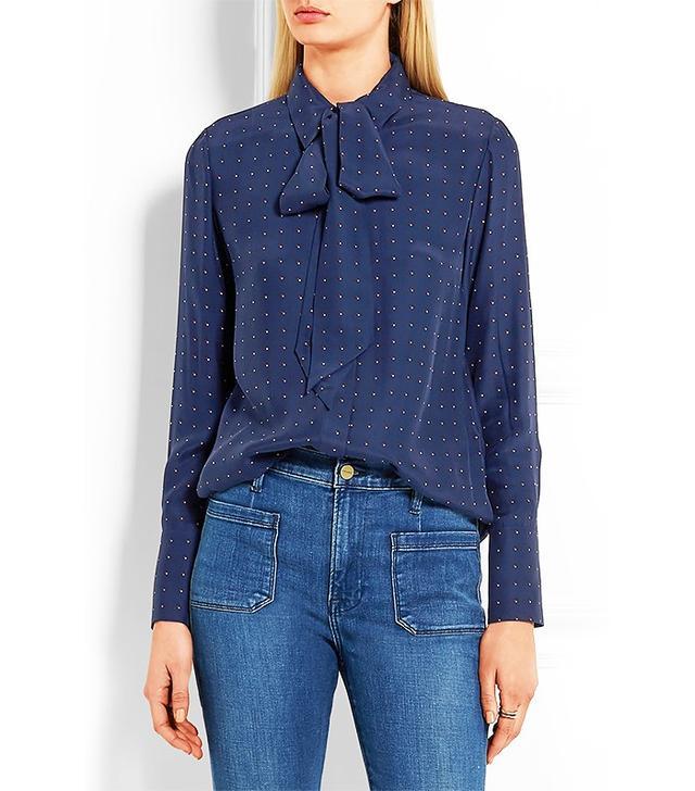 Frame Denim Le Scarf Pussy-Bow Printed Silk-Charmeuse Shirt