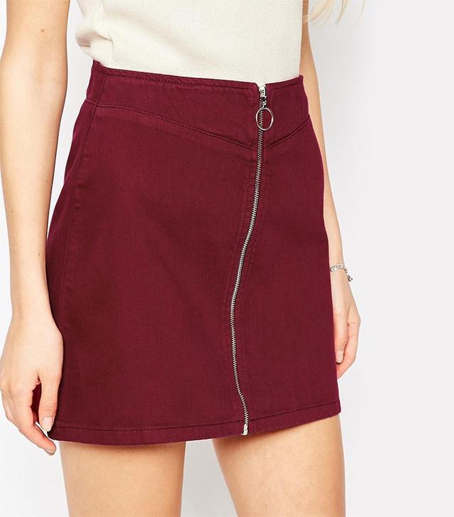 ASOS Denim Aline Skirt With Zip Front in Oxblood