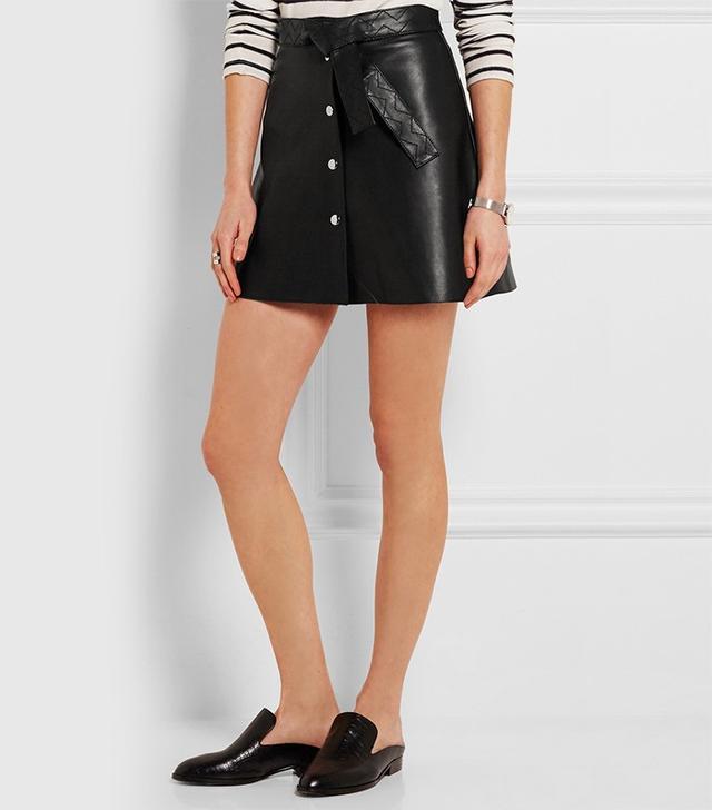 Maje Belted Leather Mini Skirt
