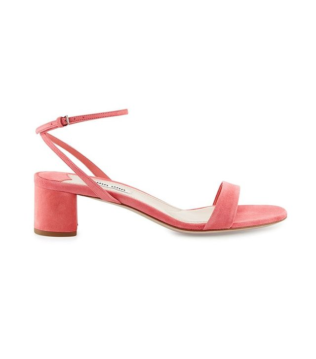 Miu Miu Suede 45mm Ankle-Wrap Sandal in Geranio