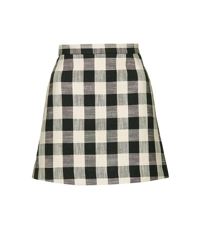 Topshop Gingham Bonded Mini Skirt