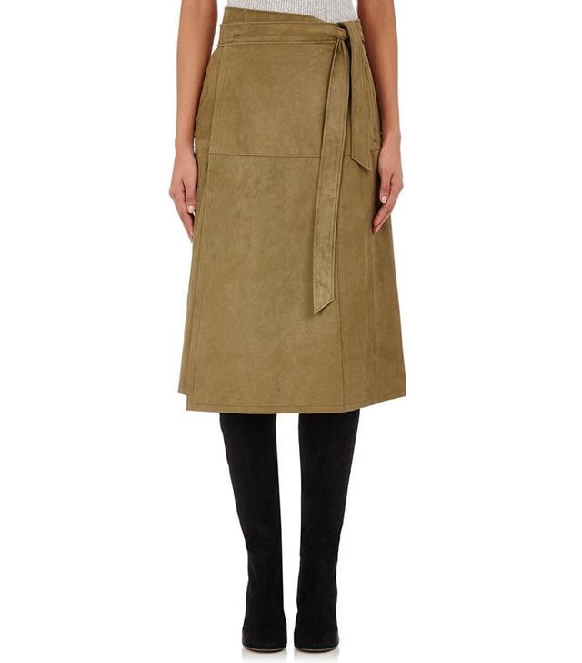 Frame Denim Suede Midi-Wrap Skirt