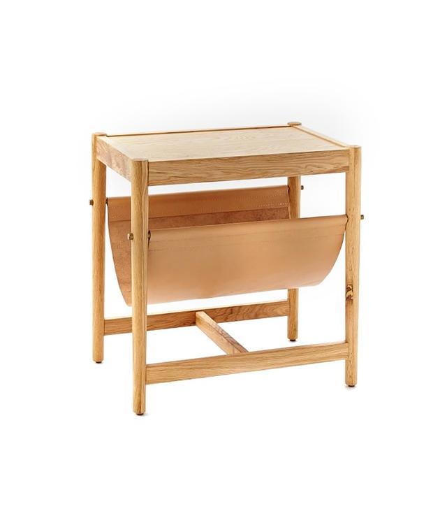 West Elm Leather Sling Side Table