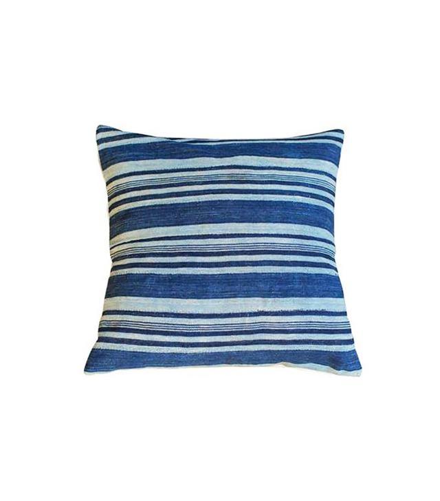 Vintage Striped Indigo Throw Pillow