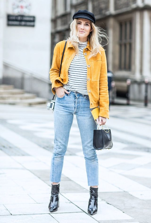 On Lucy Williams: Topshop Boutique Suede Harrington Jacket (£195) and Marbles Patent Boots (£85).