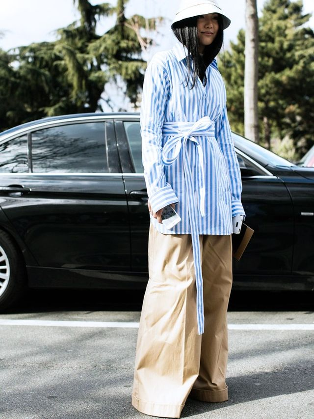 On Model: Céline tunic; and Vetements Wide-Legged Trousers (£685).