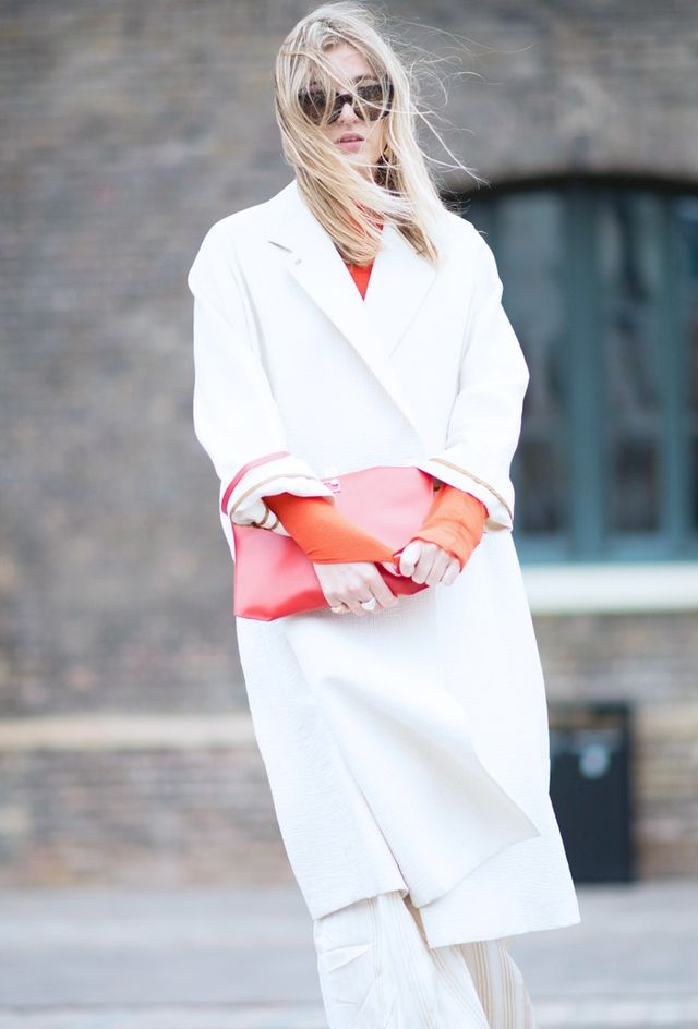 On Camille Charrière: Joy the Store coat; and Rag & Bone Alexis Cashmere Sweater (£295).